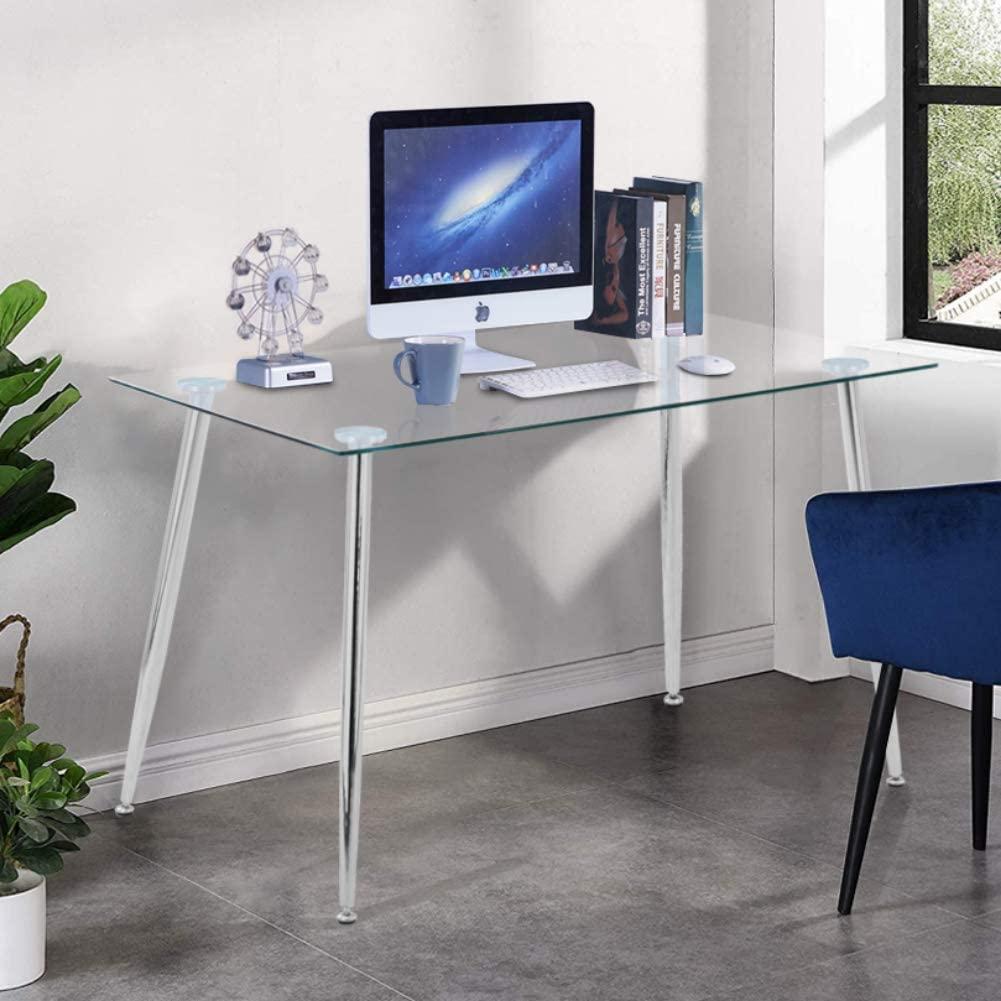 Goldfan Modern Glass Computer Desk Table On Workstation Office Home Utility Study Writing Desk 120x70x75cm Silver Fozdoo
