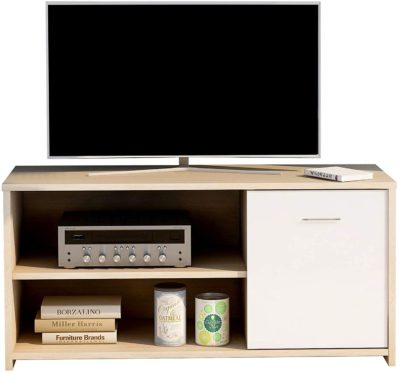 Xueliee Modern TV Unit TV Cabinets with Shelving 100cm Entertainment Centre for Flat Screen TV and Gaming Consoles, Cabinet Stand for Living Room or Bedroom(Black)