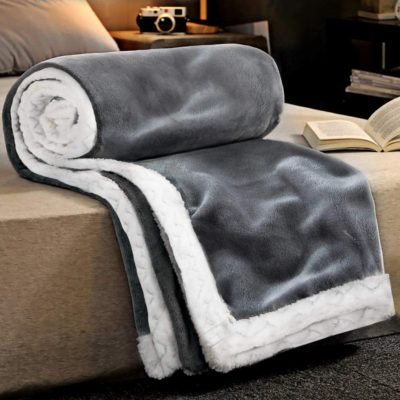 RATEL Double layer Blanket Fleece gray 150×200CM, 460GSM Upgrade Soft flannel Double Bed large Blankets, Microfiber Sofa Blanket for Chairs/Bed/office – Exquisite bedding, Warm, Cozy, Durable