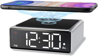 NOKLEAD Small Metal Alarm Clock with Qi Wireless Charging – Clear Digital LED Display with 4 Brightness 12/24H Snooze for Bedroom Bedside Office, Compatible with iPhone, Samsung, Android (Silver)
