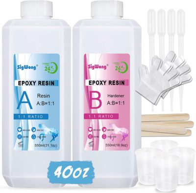 Epoxy Resin Clear Crystal Coating Kit 40oz/1100ml – 2 Part Casting Resin for Art, Craft, Jewelry Making, River Tables, Bonus Gloves, Measuring Cup, Wooden Sticks and Dropper