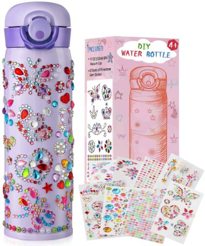 Decorate Your Own Water Bottle for Girls with Tons of Rhinestone Glitter Gem Stickers BPA Free 500 mL Kids Water Bottler Birthday Presents Girls Art and Craft Sets Birthday Gifts for Kids (Purple)